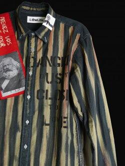 LOWLIFE(ローライフ)アナーキーシャツブルーハンドメイドシャツ長袖トップスpunkセックスピストルズパンクロックファッションパンクファッションロックファッションユニセックスロック系着こなしおしゃれかっこいい