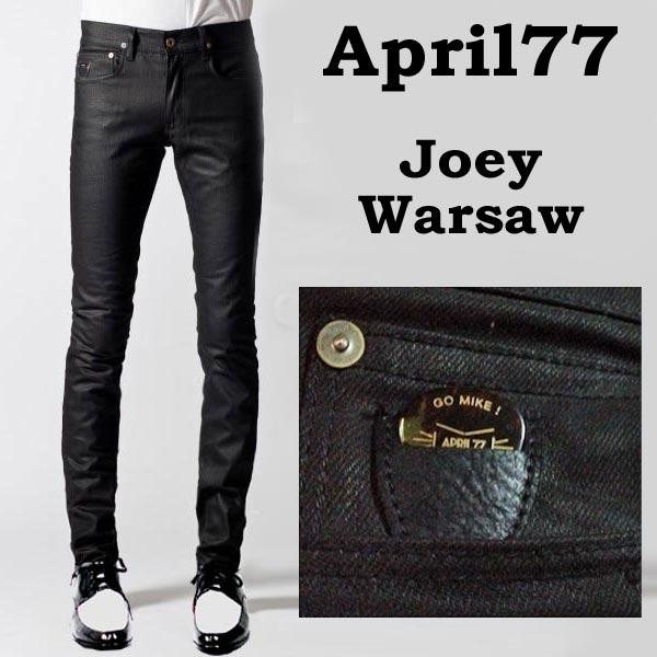 april77(エイプリル77)APRIL77 Joey Warsaw 程良い光沢 スキニー ジーンズ (スキニー デニム スキニーパンツ ブラック パンツ デニム メンズ 黒 ブラックジーンズ スキニージーンズ パンク ロック ファッション コーティング スキニーデニム ロカビリー モード系