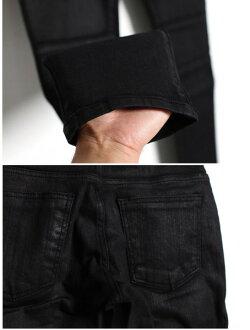アシンメトリースキニーデニムコーティングポケット付き光沢バイカースキニーロックパンクファッションメンズスキニーデニムジーパンカーゴカーゴパンツ(人気ブラック黒バイク細身パンツバイカー)モード系