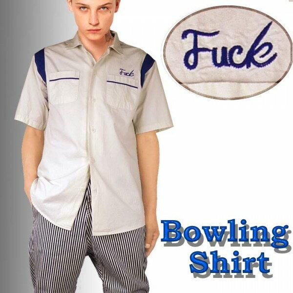 ボーリングシャツ 開襟シャツ FUCK刺繍 ボウリングシャツ メンズ オープンカラー 半袖 オープンカラーシャツ ロックファッション 半袖シャツ)