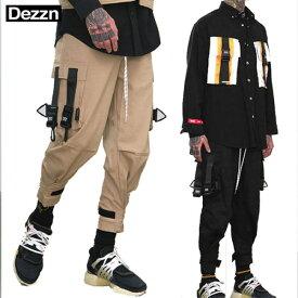 カーゴパンツ Dezzn(ディズーン)ジョガーパンツ 2色 サルエルパンツ ボンテージパンツ ブラック カーキ スキニー ジーンズ ジーンズ ボトムス 黒 ウエストゴム ロック パンク ファッション モード系ファッション ストリートファッション メンズ