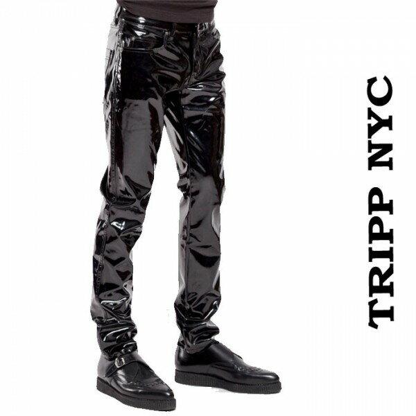 スキニーパンツ 光沢 エナメル ブラック TRIPP NYC(トリップニューヨーク) エナメルパンツ エナメルスキニー ヴィニール ジップ カーゴ ブラック 黒 スキニーパンツ ロック パンク ファッション ヘビメタ V系 tripp nyc
