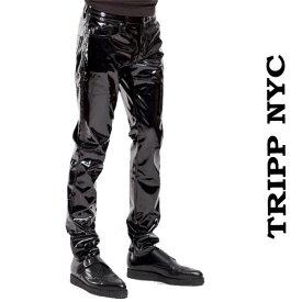 スキニーパンツ 光沢 エナメル ブラック TRIPP NYC(トリップニューヨーク)エナメルパンツ ビニール スキニー ヴィニール ジップ カーゴ 黒 パンク ロック ファッション ヘビメタ V系 tripp nyc かっこいい おしゃれ 春 夏