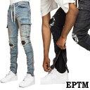 スキニー メンズ EPTM エピトミ バイカーパンツ クラッシュジーンズ バイカーカーゴ バイカーファッション ブラック ライダース パンク…