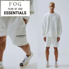 fog essential(エッセンシャルズ) Fear of God (フィアオブゴッド) ハーフパンツ メンズ ホワイト 白 スウェットパンツ ショートパンツ fog essentials ストリートファッション モード系 パンク ロック ファッション ストリート おしゃれ かっこいい