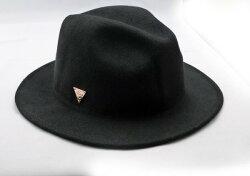 HATERSNAPBACK(ヘイタースナップバック)フェルト中折れ帽中折ハットウール帽メタルプレートブリティッシュロックファッションストリートモッズ