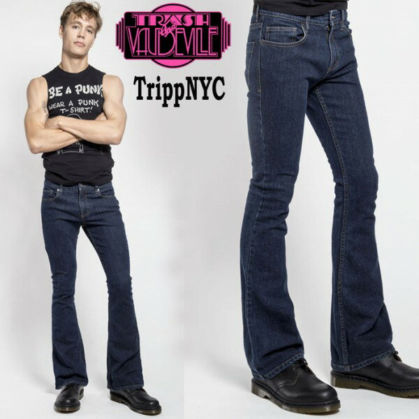 ブーツカット ジーンズ TRIPP NYC ブーツカット インディゴ デニム tripp nyc パンクファッション ロックファッション デニムパンツ ジーンズ ロカビリー スリムパンツ バイカー モード系 メンズ ヘビメタ ヘビーメタル V系 スキニー ロック系