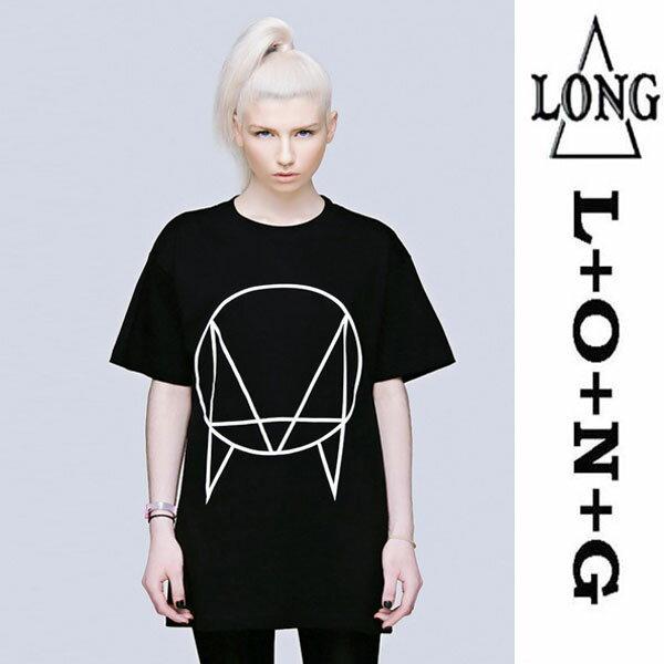 LONG CLOTHING ロングクロージング owsla グラフィックTシャツ パンク ロック ファッション ロックtシャツ バンドtシャツ ユニセックス BOY LONDON ボーイロンドン メンズ レディース ブラック 黒 ロックファッション ロング丈 幾何学 BOYLONDON モード系 longclothing