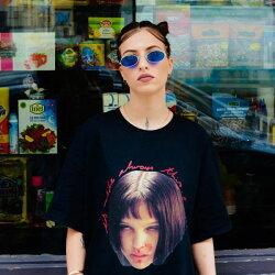 NYCXPARYS(エヌワイシーバイパリ)マチルダビックtシャツトップスナタリーポートマンLEONレオンtシャツユニセックスメンズパンクロックファッション半袖ブラック(ロック系パンク系グランジ