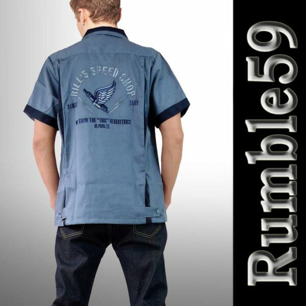 ボウリングシャツ(ボーリングシャツ)開襟シャツ オープンカラー 半袖 メンズ rumble59 ロカビリーオープンネック レトロなロックシャツ WAD 服 ストリート (ロック パンクファッション フェス オープンカラーシャツ 着こなし)ロック系 パンク系 ロカビリー