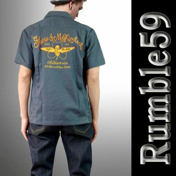 ボウリングシャツ(ボーリングシャツ)開襟シャツ オープンカラー 半袖 メンズ rumble59 ロカビリーオープンネック レトロなロックシャツ グレー WAD 服 ストリート (ロック パンクファッション フェス オープンカラーシャツ 着こなし)