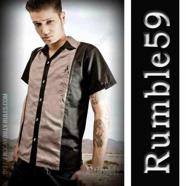 ボウリングシャツ(ボーリングシャツ)開襟シャツ 半袖 メンズ rumble59 オープンカラー ロカビリー オープンネック レトロなロックシャツ WAD 服 ストリート (ロック パンクファッション フェス オープンカラーシャツ 着こなし) ロック系 パンク系