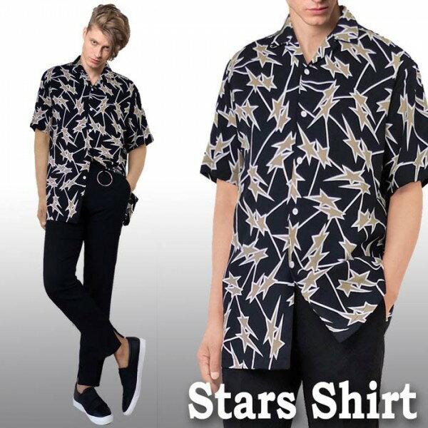 開襟シャツ スター柄(星柄) 半袖 メンズ ロカビリー レトロシャツ メンズ 半袖 カットシャツ ストリート ロック ストリート ファッション オープンネック オーブンカラー シャツ WAD モード モッズ ボーリングシャツ ボウリングシャツ