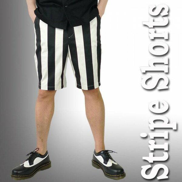 ストライプ ハーフパンツ 涼しいコットン 太めストライプ 春夏 パンクファッション おしゃれ モード系 rock ロックファッション ファッション パンク ロック
