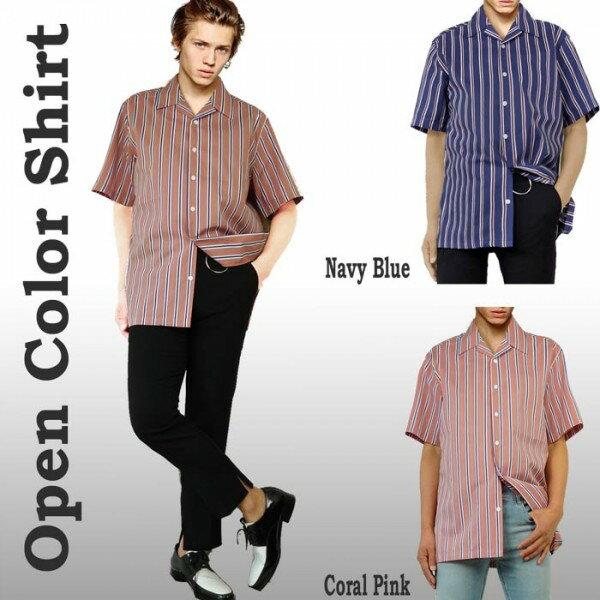 開襟シャツ ストライプ 半袖 ブルー ピンク メンズ ロカビリー レトロシャツ メンズ 半袖 カットシャツ ストリート ロック ストリート ファッション オープンネック オーブンカラー シャツ WAD モード モッズ パジャマシャツ ボーリングシャツ