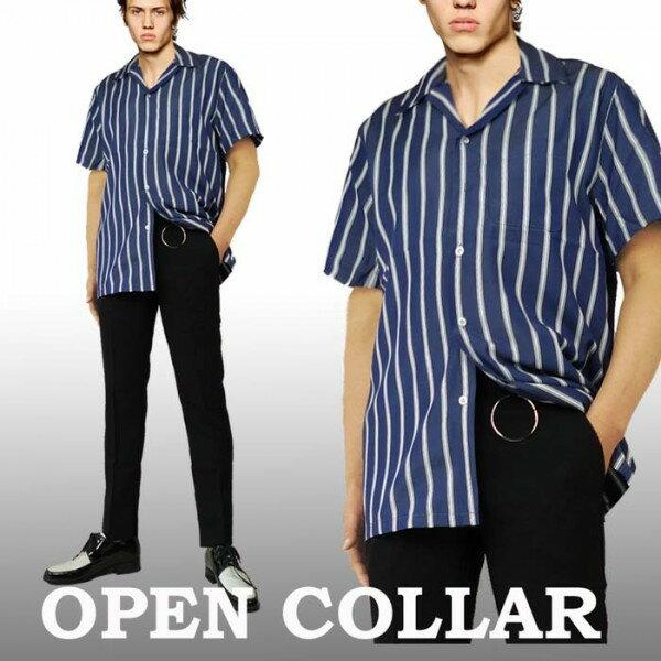開襟シャツ ブルー ストライプ 半袖 メンズ ロカビリー レトロシャツ メンズ 半袖 カットシャツ ストリート ロック ストリート ファッション オープンネック オーブンカラー シャツ WAD モード モッズ ボーリングシャツ ボウリングシャツ