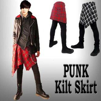 由于裙子人格子花纹(褶迭短裙)爆胎拧时尚的尊严(格子花纹)街道休闲人带锁头嫉谷型款式rock punk方式派锁头派裙子左右不均裙子