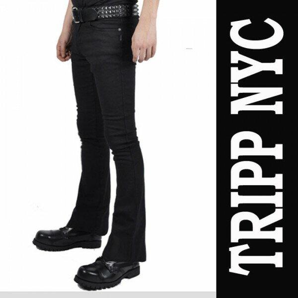 ブーツカット ジーンズ TRIPP NYC ブーツカット ブラック ジーンズ/tripp nyc(トリップニューヨーク/ パンクファッション ロックファッション デニムパンツ ジーンズ 黒 ロカビリー スリムパンツ バイカー モード系 メンズ ヘビメタ ヘビーメタル V系 スキニー ロック系