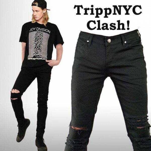 クラッシュ スキニー tripp nyc トリップニューヨーク ダメージ スキニー メンズ ブラックジーンズ おしゃれ rock ロックファッション パンク ロック ファッション スキニー デニム ジーンズ パンツ ダメージ パンツ wad バイカー モード系 TRIPP NYC