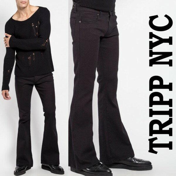 ベルボトム ジーンズ TRIPP NYC(トリップニューヨーク)ブーツカット ブラック ロックフィット デニム パンタロン rock パンク ロックファッション マイケミ リンキン tripp nyc 春コーデ