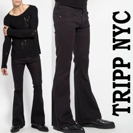 ベルボトム ジーンズ TRIPP NYC トリップ ニューヨークブーツカット ブラック ロック デニム パンク ロックファッション tripp nyc かっこいい ジーンズ アメリカン ロカビリー モード系 メンズ v系 ロック系 パンクロック ヘビメタ