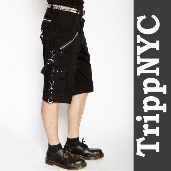 ハーフパンツ tripp nyc(トリップニューヨーク) ジップ ボンテージ ハーフ ブラック スキニーパンツ パンク ロック ファッション スキニー カーゴ ロックファッション ブラックジーンズ メンズ TRIPP パンクファッション ヘビメタ ロック系 パンク系