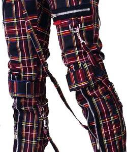 ボンテージパンツTRIPPNYC(トリップニューヨーク)ZIPクラシックターターチェックスキニーボンデージパンツスキニーパンツパンクロックファッションスキニーカーゴロックファッションブラックジーンズメンズtrippnycパンクファッションヘビメタロック