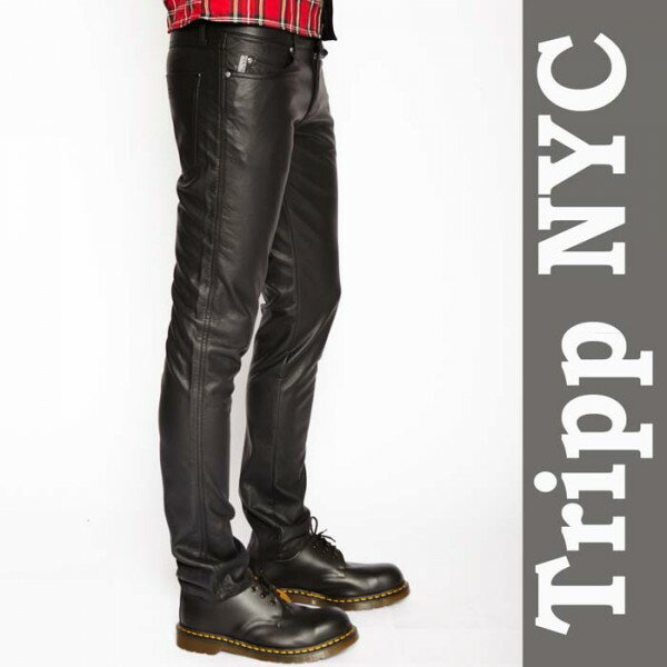 メンズフェイクレザーパンツ TRIPP NYC(トリップニューヨーク)PUレザーパンツ スキニーパンツ (メンズ スキニー パンツ メタル ロック ファッション フェイクレザー レザーパンツ スリム 冬)WAD/tripp nyc 光沢 ライダース バイカーパンツ ロカビリー モード系 ブラック
