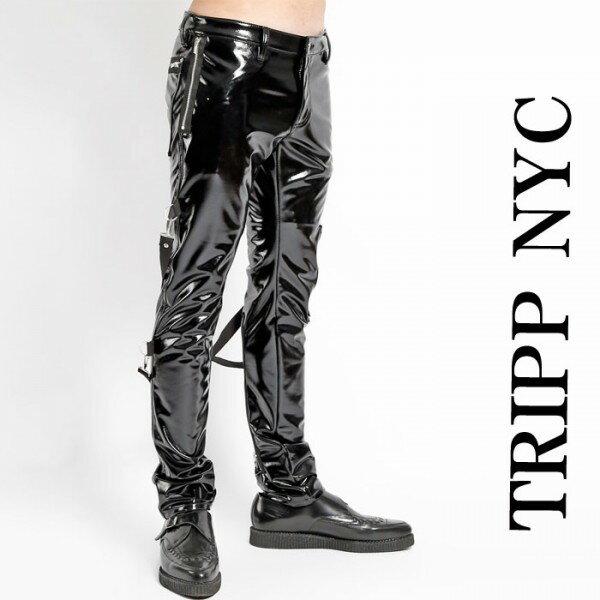 ボンテージパンツ エナメル ブラック TRIPP NYC(トリップニューヨーク) ボンテージ パンツ エナメルパンツ エナメルスキニー 光沢 ヴィニール ジップ カーゴ ブラック 黒 スキニーパンツ パンク ロック ファッション ヘビメタ V系 tripp nyc コーデ 春