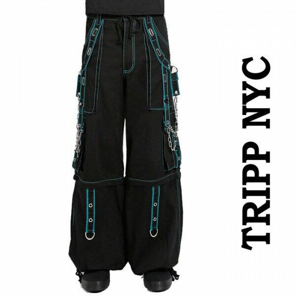 ボンテージパンツ ワイドパンツ TRIPP NYC(トリップニューヨーク)パンク 超ワイド スタッズ ブルー グリーン ワイド パンツ 手錠 チェーン 鋲 ハーフパンツ パラシュートパンツ ダンスパンツ ロック ファッション ストリート系 ヘビメタ 春コーデ