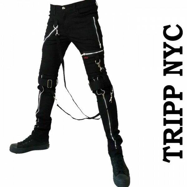 ボンテージパンツ TRIPP NYC (トリップニューヨーク)ZIPスキニー ボンデージパンツ スキニーパンツ パンク ロック ファッション スキニー カーゴ ロックファッション ブラックジーンズ メンズ tripp nyc パンクファッション ヘビメタ ロック