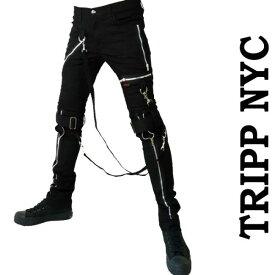 ボンテージパンツ TRIPP NYC トリップニューヨーク メンズ ブラック スキニーパンツ パンク ロック ファッション カーゴ ロックファッション ストレッチ tripp ヘビメタ v系 モード系 ロック系 アメリカン バイカー ストリート かっこいい 春 夏