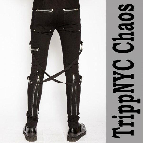 ボンテージパンツ TRIPP NYC トリップニューヨーク chaos-pants ブラック ジップ ボンテージ カーゴ ボンデージパンツ ジップ カーゴ ブラック パンクファッション zip スキニー ロックファッション ファッション パンク ロック スキニー スキニーパンツ