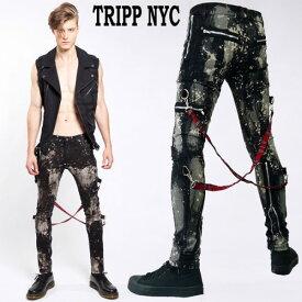 ボンテージパンツ TRIPP NYC(トリップ ニューヨーク)カーゴスキニー ブリーチ絞り(むら染め)スキニーパンツ ロック パンク ファッション rock (スキニー デニム ジーンズ おしゃれ ボトムス かっこいい パンツ ボトム)新着
