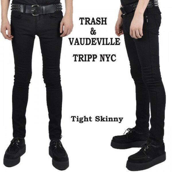 ブラック タイト スキニー ジーンズ TRIPP NYC(トリップニューヨーク) 黒 スキニー デニム パンツ メンズ パンク ロック ファッション ロカビリー モード系 バイカー ライダース tripp nyc V系 スリム メンズ スキニージーンズ おしゃれ あす楽