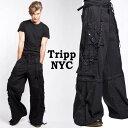 ボンテージパンツ ワイドパンツtripp nyc(トリップニューヨーク)パンク テイストな超ワイド ボンテージ 手錠 チェー…