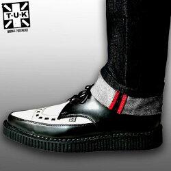 T.U.K.(TUK)ユーロ・ストリート系には必須のクリーパー(厚底ゴム製ソール)のコンビネーションシューズ白黒,コンビ靴,革靴,TUK,ロック,モッズ,クリッパー,ロックファッション,ブリティッシュ,ユーロストリート(厚底シューズメンズロック服)