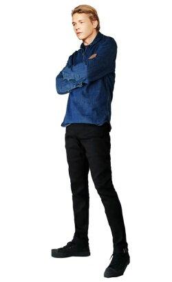 ブラックストレッチサルベージスキニージーンズカナダ発TheUnbrandedBrandサルベージデニム地仕様タイトなデザインスキニーデニムテーパードプレミアムヴィンテージスキニージーンズリジット生デニムスリム細身naked&famous