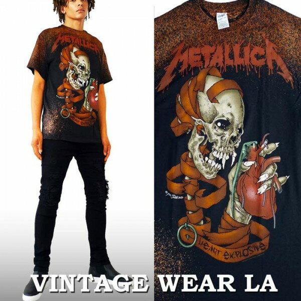 ロックtシャツ VINTAGE WEAR LA(ヴィンテージウェアー エルエー)からmetallica(メタリカ)メタル metal スカル ブリーチ+絞り染(タイダイ)ロックtシャツ バンドtシャツ ビックtシャツ ブリーチtシャツ ストリート系 ファッション ロックファッション ロック系 ハードコア