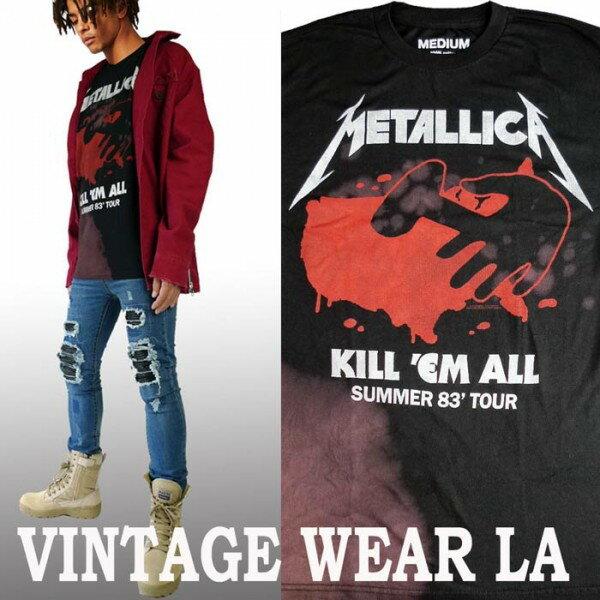 ロックtシャツ VINTAGE WEAR LA(ヴィンテージウェアー エルエー)からmetallica(メタリカ)メタル ブリーチ+絞り染(タイダイ)ロックtシャツ ストリート系 ビックtシャツ ヴィンテージ tシャツ パンク ロックファッション ハードコア メタル