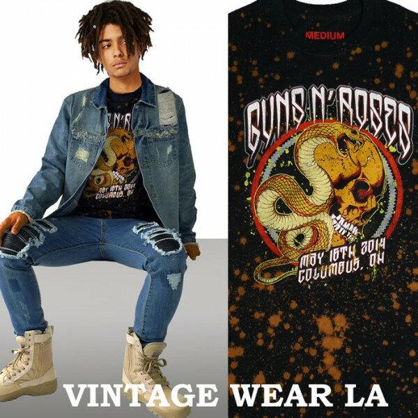 ロックtシャツ ヴィンテージ VINTAGE WEAR LA(ヴィンテージウェアー エルエー)からguns n' roses(ガンズアンドローゼス)ブリーチ+絞り染(タイダイ)ロックtシャツ バンドtシャツ ビックtシャツ ヴィンテージ tシャツ パンク ロック ファッション ロックファッション ロック系