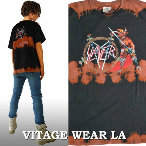 ロックtシャツ VINTAGE WEAR LA(ヴィンテージウェアー エルエー)からSLAYER(スレイヤー)ブリーチ+絞り染(タイダイ)ロックtシャツ バンドtシャツ ビックtシャツ ヴィンテージ tシャツ パンク ロック ファッション ロックファッション ロック系 ハードコア スラッシュ メタル
