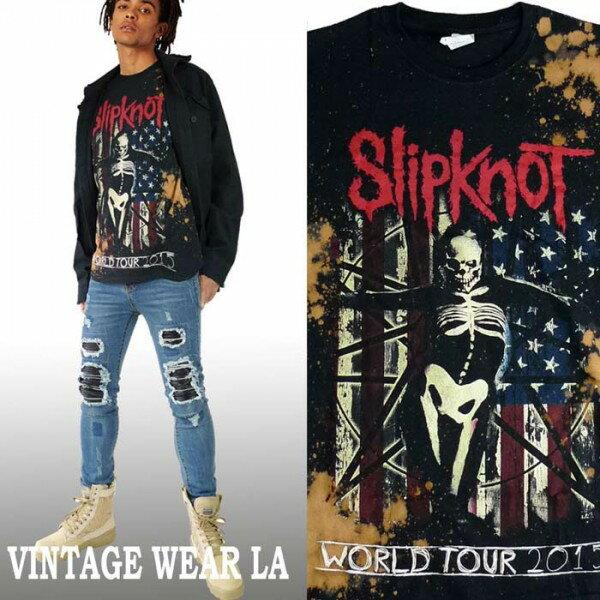 ロックtシャツ VINTAGE WEAR LA(ヴィンテージウェアー エルエー)からSLIPKNOT(スリップノット)メタル metal ブリーチ+絞り染(タイダイ)ロックtシャツ ストリート系 ビックtシャツ ヴィンテージ tシャツ パンク ロック ファッション ロックファッション ロック系