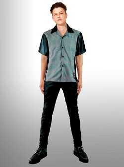 WADオリジナルロックなサイドZIPオープンカラーシャツフェイクレザー切り替え衿、袖ワークシャツボーリングシャツメンズ半袖刺繍ストリートロックパンクロカビリーファッションフェスオープンカラーシャツ