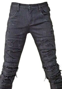 ウォッシュブラッククラッシュジーンズ