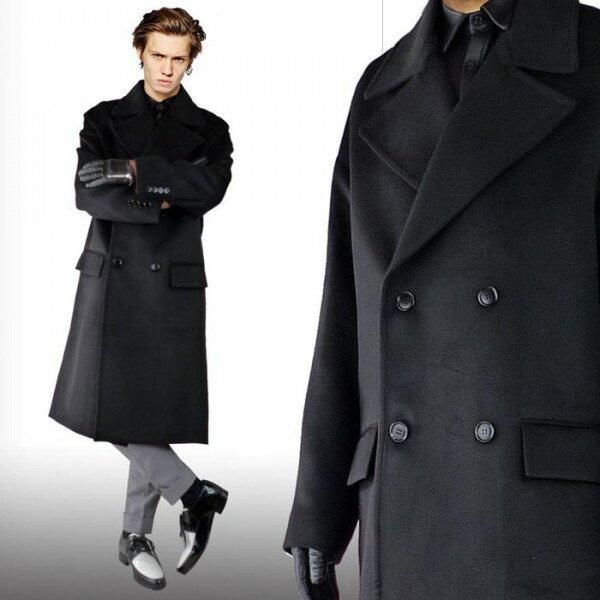 ロングコート メンズ ウールコート ダブルコート/ロング丈 ブラック ウール メンズ コート ウールコート 冬 アウター モード系 ロック パンク ファッション おしゃれ きれいめ オーバーサイズ 黒