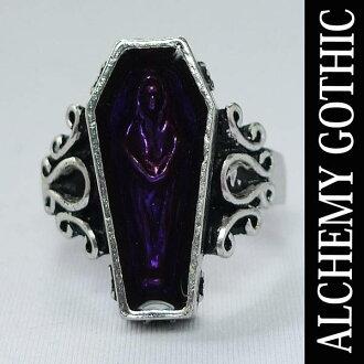炼金术哥特式 (炼金术哥德式) 亡灵棺材戒指、 男士配饰、 岩石、 摇滚时尚、 朋克时尚、 哥特式配件、 环 05P28oct13