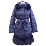 ファー&刺繍使い暖かダウンコート(ネイビー)