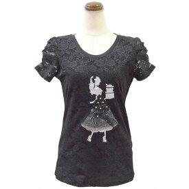 レース地デコレーションTシャツ(ブラック)Type4( カットソー レディース 華やか 夏 オフィス パール 丸首 きれいめ Tシャツ ビジュー 可愛い リボン )