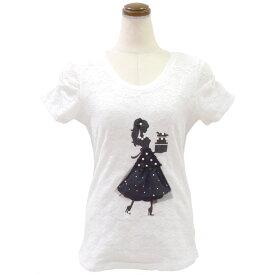 レース地デコレーションTシャツ(ホワイト)Type4( カットソー レディース 華やか 夏 オフィス パール 丸首 きれいめ Tシャツ ビジュー 可愛い リボン )